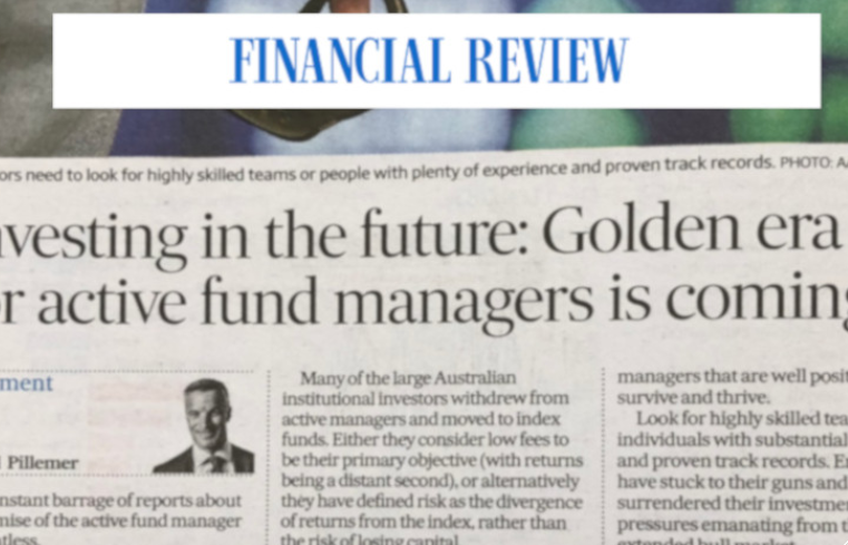 A golden era for active managers is coming (AFR)