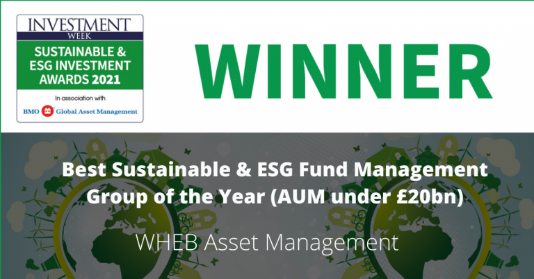 WHEB Asset Management named 'Best Sustainable and ESG Fund Management Group of the Year (under £20b AUM) in Investment Weeks 2021 awards